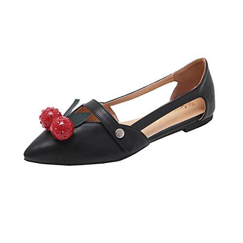 Mikro Sandaalit H Tasainen W Teräväkärkiset Musta Hengittävät Nahka Tyttöä Kengät amp; nSzqR4SY