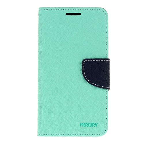 Galaxy Grand Prime funda,COOLKE Dos Colores Funda Carcasa Cuero Tapa Case Cover Para Samsung Galaxy Grand Prime - púrpura Menta