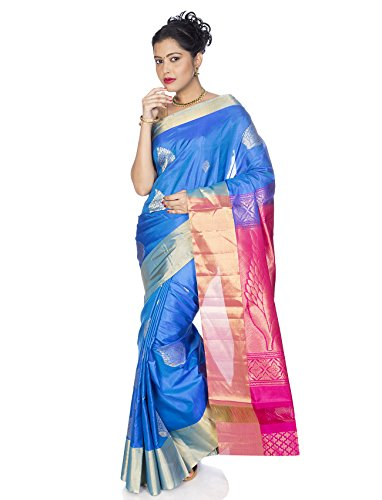Shop Pure Silk Sarees - Mandakini - Indian Women's Kanchipuram - Handloom - Pure Silk Saree (Blue)