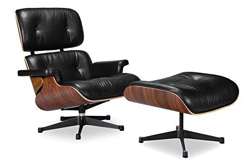 Soho Modern Style Eames Premium Reproduction Lounge Chair - Mid Century Modern Chair and Ottoman, 3 Leather Options, 2 Veneer Options - Premium Quality Replica (Italian ()