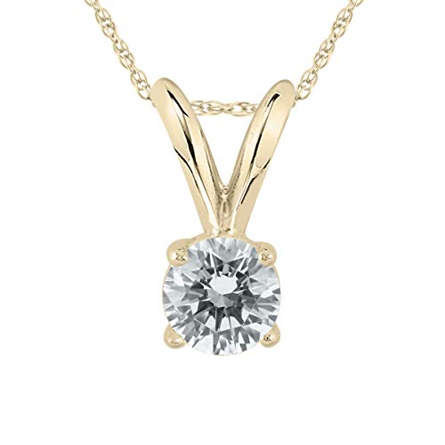 AGS Certified 1/5 Carat Round Diamond Solitaire Pendant in 14K Yellow Gold (K-L Color, I2-I3 Clarity)
