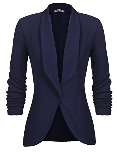 Beyove Women's Casual Work Solid Color Knit Blazer with Pockets Navy Blue XL ()