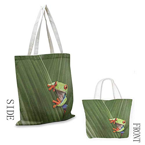 Animal Washable shopping bag Red Eyed Tree Frog Hiding in Exotic Macro Leaf in Costa Rica Rainforest Tropical Nature Handmade shopping bags W15.75 x L17.71 Inch Green (Best Shopping In Costa Rica)
