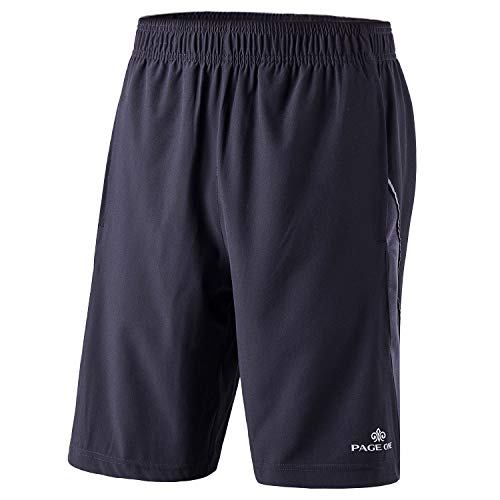 PAGE ONE Mens Active Quick Dry Athletic Essential Performance Shorts with Pockets -XXL Black