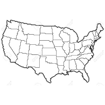 Amazoncom Home Comforts Laminated Map Us Map Black White Outline - Map-of-the-us-outline