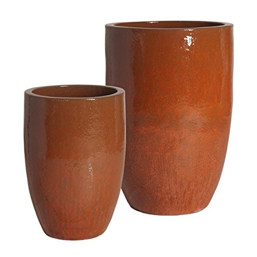 Tall Round Ceramic Planter - Paprika Red (set of 2) by Emissary