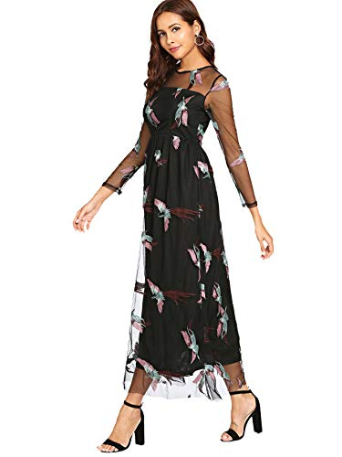 Dress A Maxi Women's Line Black Mesh Embroidered Overlay DIDK 1 Sleeve Long 4OqwwzA
