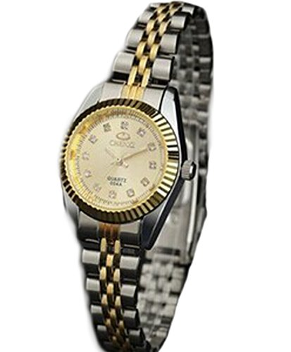 New fashions Couple watches stainless steel band Automatic mechanical watch waterproof for men and women (Golden female)