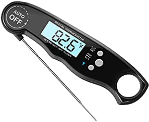 Noosa Life | Meat Thermometer | Digital Instant Read Food Thermometer | Super Fast 3-4s | Cooking Thermometer | Barbecue Meat Thermometer | Collapsable Probe for Grill Cooking, Candy Making, BBQ, Beer Making, Bath Water Probe | Waterproof (Black)