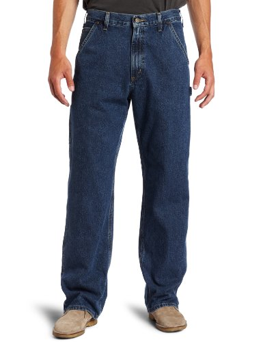 Carhartt Men's Washed Denim Original Fit Work Dungaree B13,Deepstone,35 x 30 Carhartt Flannel Lined Jeans