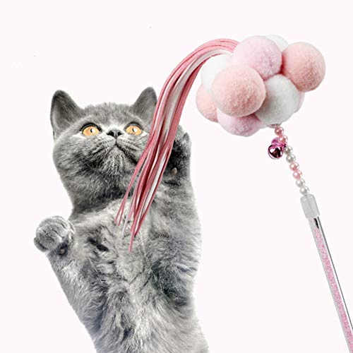 Hateli Cat Feather Toys Interactive Teaser Wand Toys with Bells and Pompon ()
