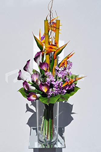 Silk-Blooms-Ltd-Artificial-Purple-Tipped-Calla-Lily-and-Birds-of-Paradise-Flower-Display-wPixie-Orchids-and-Leaves