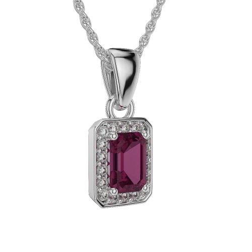 Or blanc/or/Rose/Jaune/Or/Platine-Collier Femme-diamant émeraude forme Ruby et agdnc-1063-vsgh