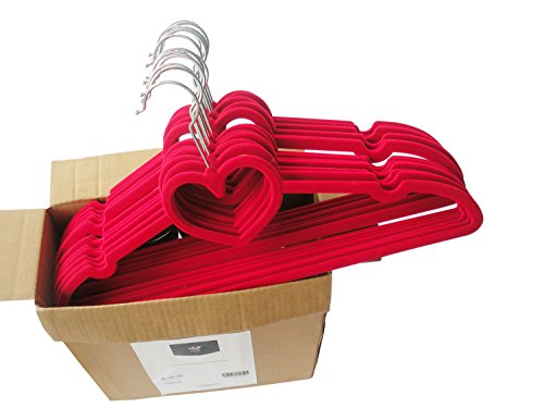 Anqi Clothes Velvet Hangers Heart Shaped Slim, Sturdy with Steel Swivel Chrome Hooks-Set of 30 ()