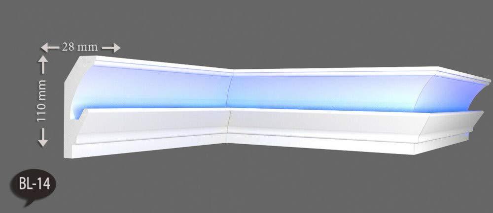 20m+4 Ecken Indirekte Beleuchtung LED Lichtprofile Wand Stuckleiste Profil BL14