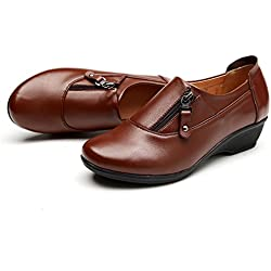 Dahanyi Stylish Spring Fashion leather women shoes mother slope soft bottom anti-slip comfortable middle aged casual shoes Plus Size42 43 brown plus velvet 4