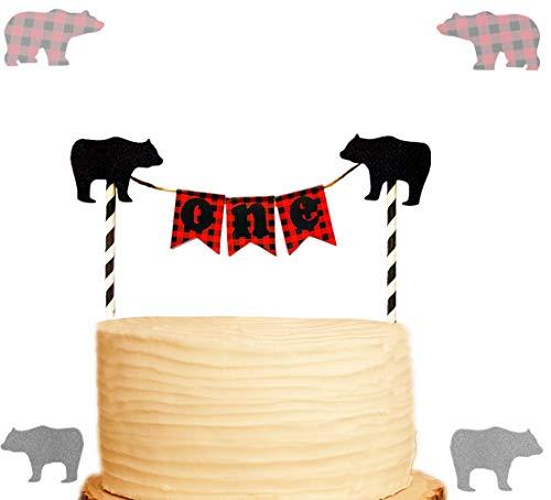 JeVenis Lumberjack Cake Topper Buffalo Plaid Cake Topper for Timber Lumberjack First Birthday Woodland Cake Topper Lumberjack Baby Shower