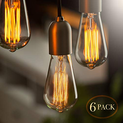 Edison Bulb (6 Pack) | Vintage Incandescent Light Bulbs for Home Office Lighting - 60 watt Light Bulbs for Vintage Lamps and Fixtures - Clear Glass Edison Light Bulb by SCANDIC GEAR ()