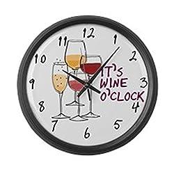 CafePress - It's Wine O'clock Large Wall Clock - Large 17 Round Wall Clock, Unique Decorative Clock