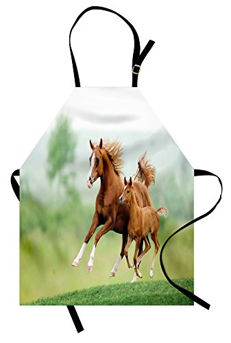 Lunarable Horse Apron, Running Chestnut Horses Mare and Foal Meadow Scenic Summer Day Outdoors, Unisex Kitchen Bib Apron with Adjustable Neck for Cooking Baking Gardening, Pale Brown and -