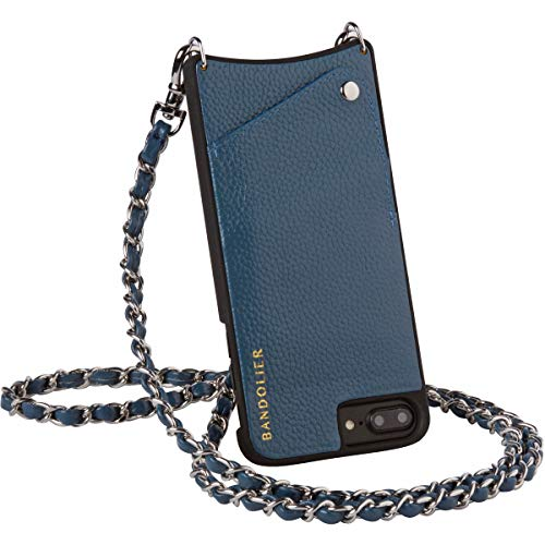Bandolier [Lucy] Phone Case w/Strap Compatible with iPhone 8, 7 & 6 | Sapphire Authentic Leather Cover + Slim Travel Wallet. Silver Designer Hardware Details. Detachable Cross Body Bag Purse Belt.