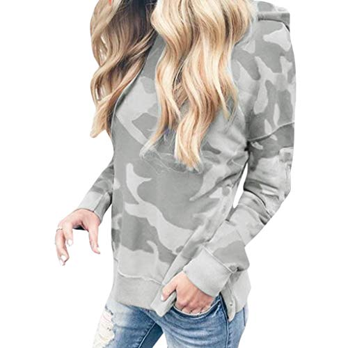 COPPEN Women Blouse Long Sleeve Hooded Fashion Camouflage Pr