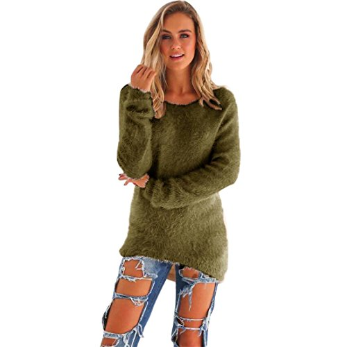 HANYI Womens Casual Solid Fleece Long Sleeve Jumper Sweaters Blouse (M, Army Green)
