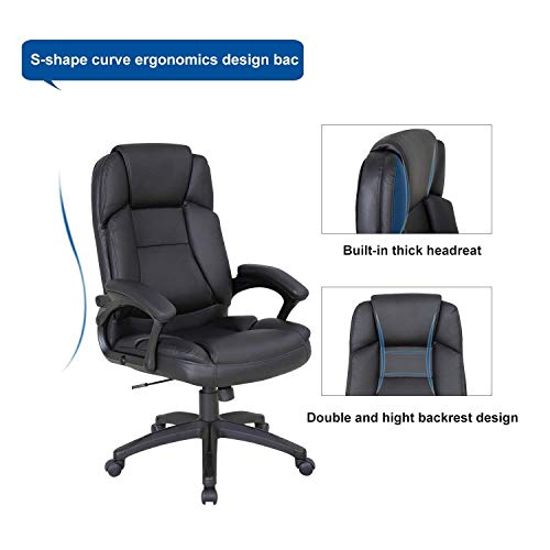 LCH High Back Executive Office Chair with Adjustable Tilt Angle - PU Leather Computer Desk Chair with Thick Padding for Comfort and Ergonomic Design for Lumbar Support by LCH (Image #5)