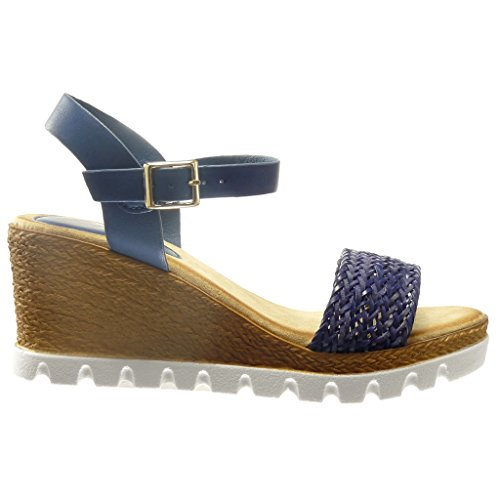 Angkorly - Zapatillas de Moda Sandalias alpargatas zapatillas de plataforma abierto mujer cuerda Talón Plataforma 7 CM - Azul