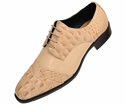 Bolano Mens Exotic Faux Crocodile and EEL Print Folded Cap Toe Oxford Dress Shoes, Style Bandit - Exotic Mens Shoes