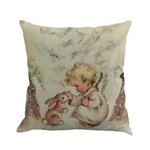 Xmas Throw Pillow Covers, Keepfit Merry Christmas Home Decor Pillow Case Holiday Season Decorations for Couch, Chair, Sofa, Assorted Designs (Little Baby)
