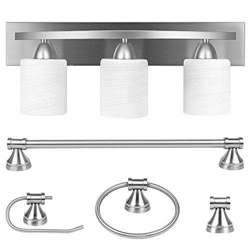 3-Light Bathroom Vanity Light Fixture, 5 Piece All-in-One Bath Sets, Bar, Towel Ring, Robe Hook, Toilet Paper Holder…
