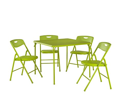 Cosco 5-Piece Folding Table and Chair Set, Apple Green ()
