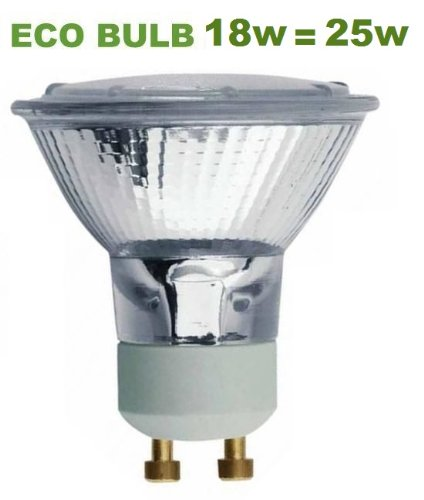 5 ECO GU10 18W = 25W Equivalent Halogen Energy Saving Light Bulbs Long Life Lamp Co