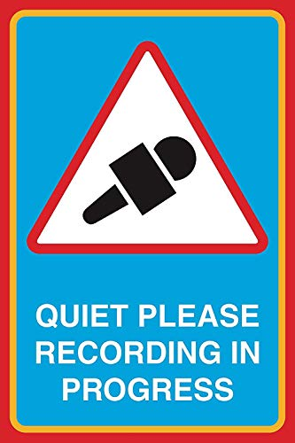 (DYTrade Tin Sign Quiet Please Recording in Progress Print Microphone Picture Large Notice Studio Office Business Sign, 8x12)