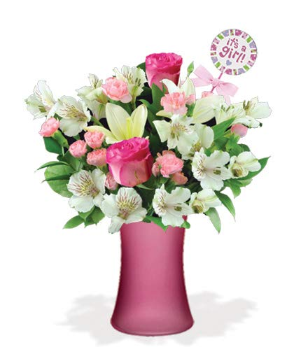 It's A Baby Girl White Lilies and Pink Roses Bouquet, with a Pink Vase and Baby Girl Pick (Fresh Cut Flowers)