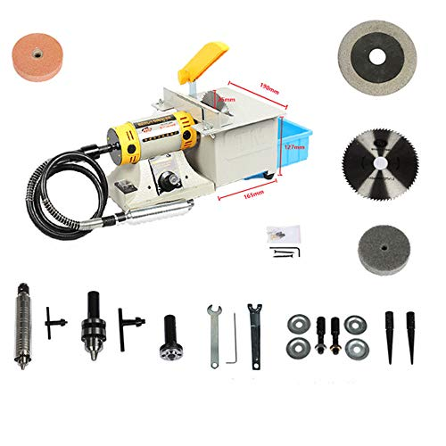 350W Multifunctional Mini Bench Lathe Machine Electric Grinder Polisher Bench Grinder Kit (Tool Post Grinder)