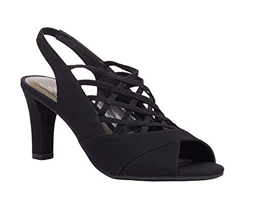 Vinson Stretch Peep Toe Sling, Black Crepe Stretch, 7.5 B(M) US