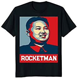 "Mens ""Rocket Man"" Kim Jong Un T-Shirt - Funny North Korea Shirt Large Black"