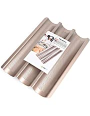 """Baguette Pans for Baking 15"""" x 11"""", Nonstick Baguette Baking Tray for French & Italian Bread Baking, Aluminized Steel Perforated French Bread Pan Mold Bakers Molding 3 Slot"""