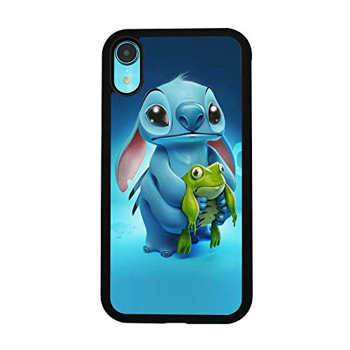 Lilo & Stitch Ohana Case for iPhone XR Comic TPU Silicone Gel Edge + PC Bumper Case Skin Protective Printed Phone Full Protection Cover
