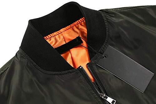 Colore Pilot Outwear Donna Libero Autunno Costume Corto Cerniera Giacche Fashion Grün Bomber Puro Primaverile Tempo Maniche Lunghe Giacca Con Eleganti zfanFx