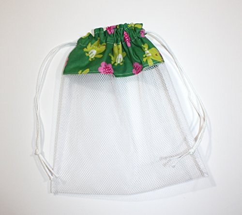 Sea Shell Bag, Frogs and Flowers Fabric & Mesh Drawstring Beach Bag Handmade by FrogBlossoms