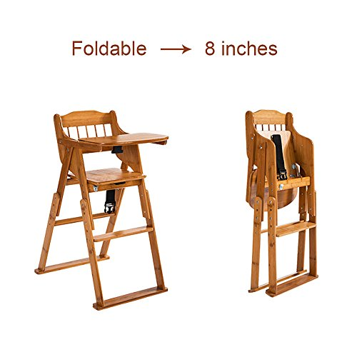 Elenker Wood Baby High Chair With Tray 3 Gear Adjustable