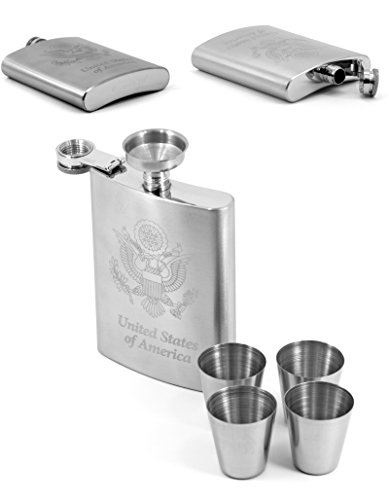 Premium-USA-Engraved-Hip-Flask-for-Men-Women-304-188-Stainless-Steel-8-oz-Flasks-for-Liquor-Gift-Set-with-Bonus-Funnel-Shot-Glasses-Groomsmen-gift-box-by-Karon