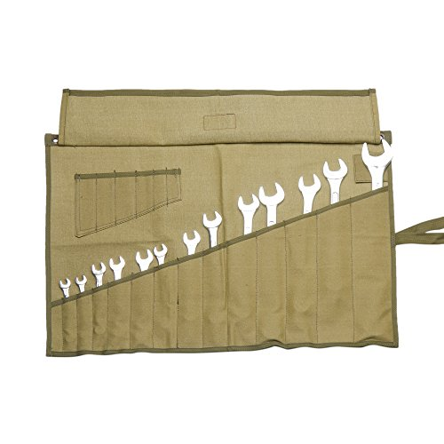 Eximius Ex 0404 Wrench/Tool Roll 14+6 Pockets of 100% Dyed and sand Washed Olive Drab 15 Oz Cotton Canvas by EXIMIUS