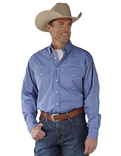 Miller Ranch Western Shirt Mens L/S Plain Weave XL Blue ()