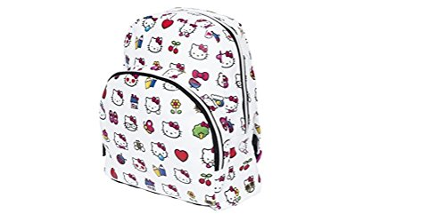 Hello Kitty Emoji Faux Leather Mini Backpack with Large Front Zipper (Hello Kitty Mini Backpack)