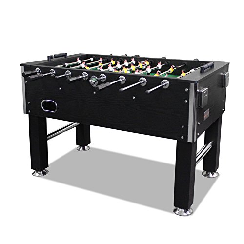 "T&R sports 60"" Soccer Foosball Table Heavy Duty for Pub Game Room with Drink Holders, Black"