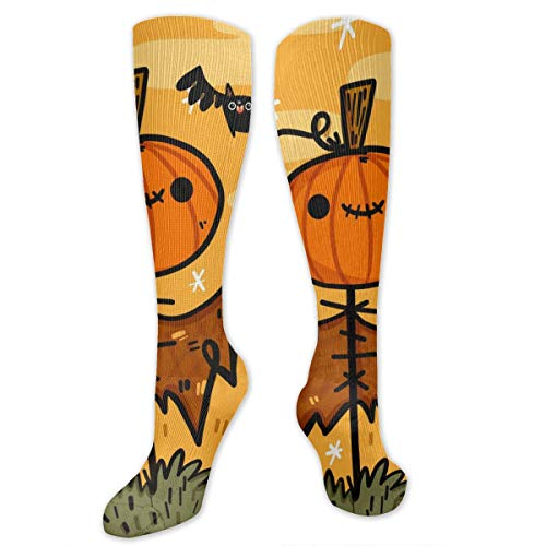 Recovery&Elastic Compression Socks (15-20 MmHg) for Boys, Happy Halloween Bat Pumpkin Man In The Grass Wallpaper Nursing Knee High Tube Socks for Travel/Edema